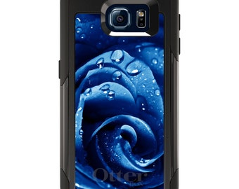 OtterBox Commuter for Galaxy S4 S5 S6 S7 S8 S8+ S9 S9+ / Note 4 5 8 - CUSTOM Monogram - Any Colors - Blue Dew Covered Rose
