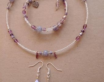 Lavender Czech Glass Jewelry Set