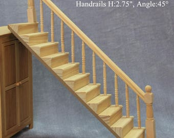 1/12 scale DIY Dollhouse Miniature Furniture Straight Stairway with Right Handrail