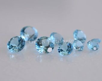 Swiss Blue Topaz Round Faceted 2 mm, 2.50 mm / Top Quality Blue Topaz / Price by lot size of 10 pcs.