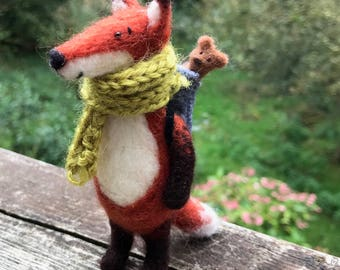 Needle Felted Animal - Fox with scarf - Gift - Fibre Art - Cute Felt Ornament - Wool Sculpture