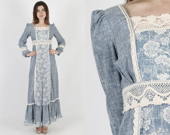 Gunne Sax Dress Chambray Dress Prairie Dress Renaissance Dress Bohemian Dress Crochet Dress Vintage 70s Floral Boho Hippie Maxi Dress S