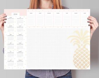 Calendar 2018, Large Deskpad Calendar 2018, Desk Calendar 2018, Weekly planner with calendar 2018, week calendar 2018, calendar planner 2018