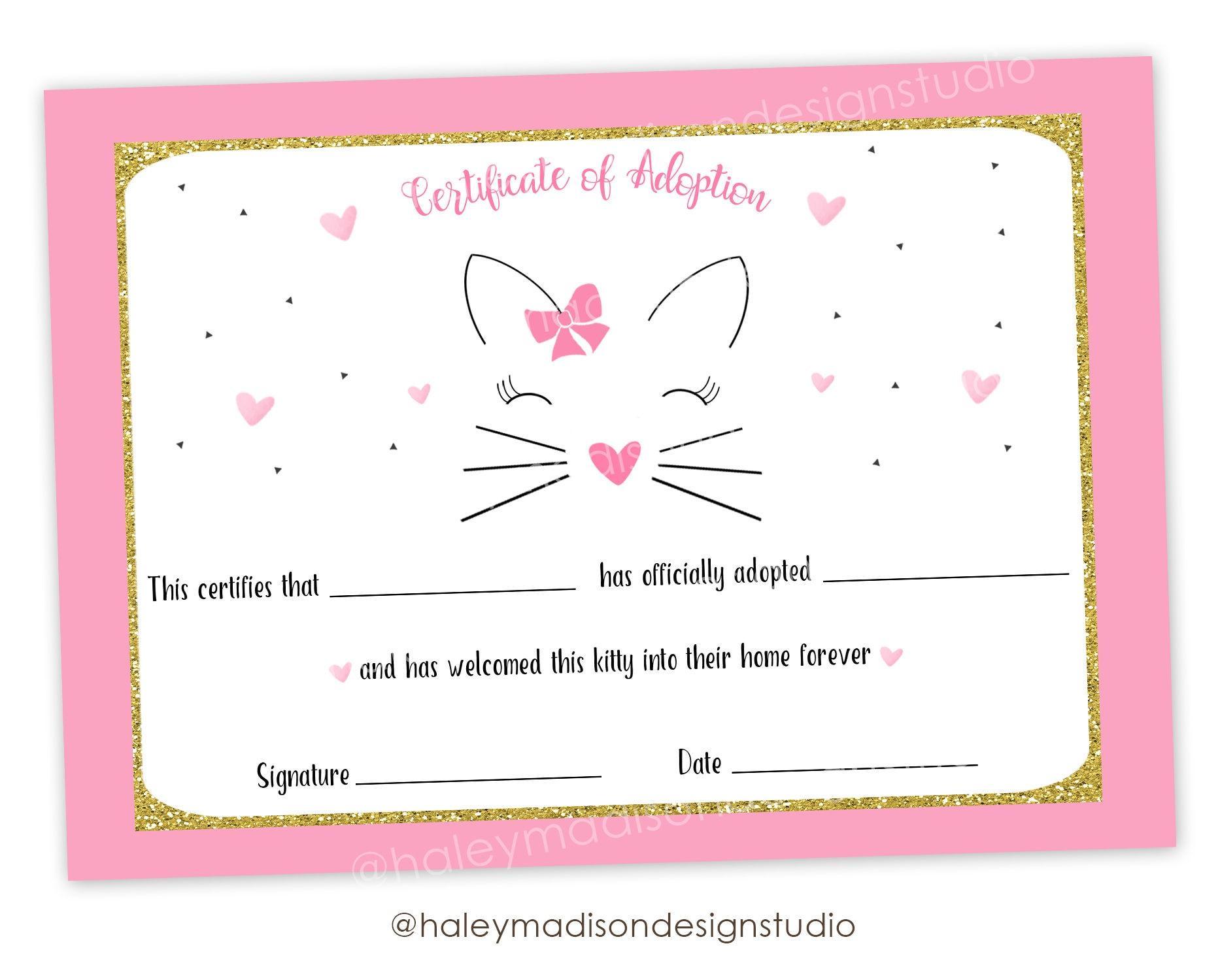 cat adoption certificate  Cat Adoption Certificate Kitty cat adoption cetificate of
