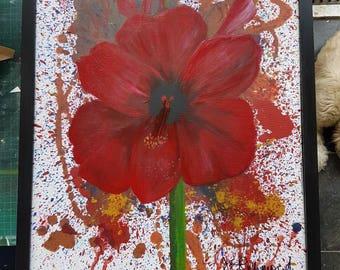Red amaryllis original painting
