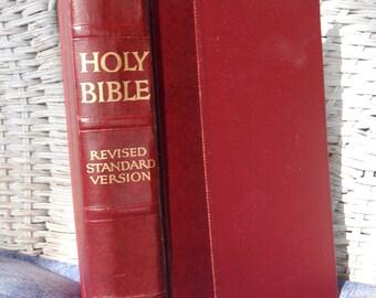 Vintage Holy Bible . Religious Book .Farmhouse Decor .Christian Book .Antique Book .Spiritual Book.