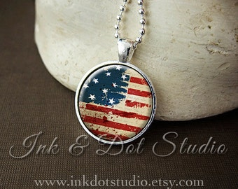Rustic American Flag Necklace, Patriotic American Flag Necklace, American Flag Pendant, Independence Day Jewelry, 4th of July Necklace