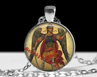 Michael Archangel pendant, angel necklace, magic talisman, protection amulet, lamen, christian jewelry, medieval art, church ornament #277
