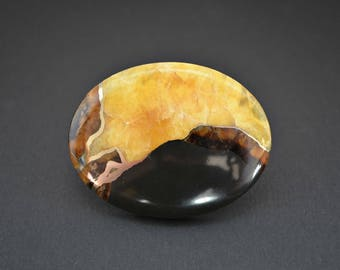 Simbircite with  pyrite natural stone cabochon 51 x 40 x 7 mm