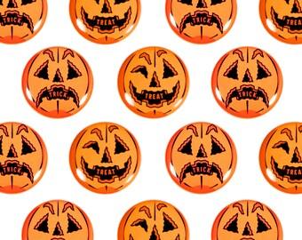 "Trick or Treat (Set of 2) Halloween 1"" Pinback Buttons - Jack o'lantern, Plastic Pumpkin, Blow mold, Halloween Decoration"