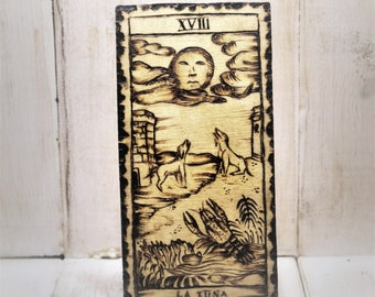 The Moon, a tarot on wood with pyrography