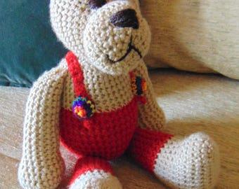 """Crocheted teddy bear stuffed animal doll toy """"Freddy"""""""