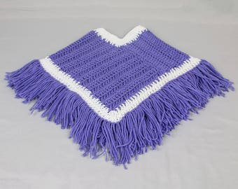 Baby and toddler BoHo poncho Fringed poncho Lavender / white crocheted poncho