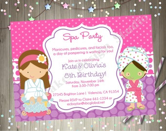 Spa Party Birthday Invitation Invite Twins Siblings Spa Birthday Invitation Printable - CHOOSE YOUR GIRLS