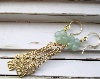 Shayleigh earrings, clover jade bead, cathedral brass dangles, 14k gold ear wires, delicate, feminine earrings for her