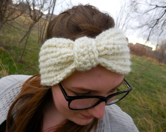 Warm and Cozy Crochet Bow Ear Warmer Headband
