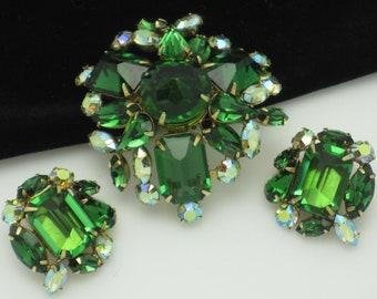 Signed SCHREINER Set Brooch/Pendant Pin Earring  Emerald Crystal AB Rhinestone Demi Parure