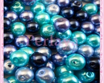 Mix of 150 beads 8mm glass blue REF2321 OCEANBLUE