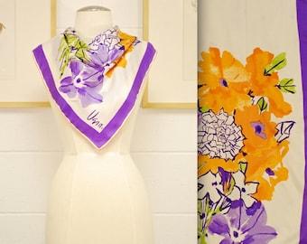Vintage VERA Silk Scarf / Spring Floral Garden / Retro Collectable Rare