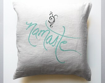 Namaste and Om White Throw Pillows, mandala, Yoga, home decor accent, spiritual