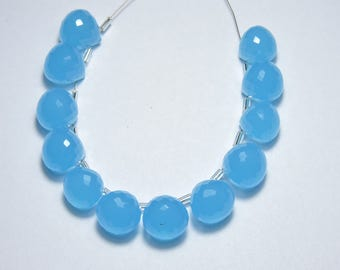 12 Pcs Very Beautiful Sky Blue Chalcedony Faceted Onion Briolettes Size 13 MM