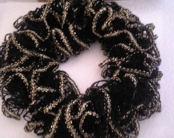 Black and Gold Ruffled Scarf
