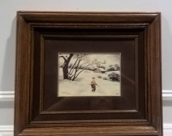 """Limited Edition 26/250 - """"First Hunt"""" - Signed B. Herd - Framed Lithography"""