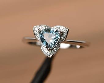 genuine aquamarine ring Promise wedding ring trillion cut sterling silver ring blue gemstone March birthstone ring