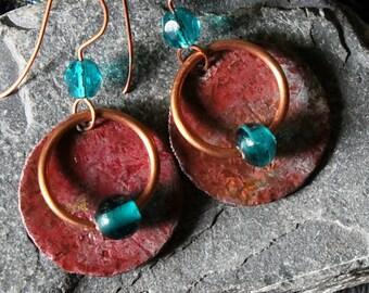 Mixed Metal Earrings, Hammered Copper Earrings, Copper Patina Earrings, Boho Earrings, Rustic Copper Earrings, Tribal Jewelry, Boho Jewerly