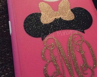 Glitter Minnie or Mickey Mouse Personalized Monogram Vinyl Decal Mono Topper Nurse Police Fire Maleficent Ariel Mermaid Elsa