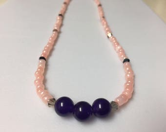 Amethyst and Pink Glass Necklace