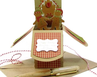 Gingerbread Christmas Pop Up Card, Gingerbread Decor, Gingerbread Invitations, Gingerbread Man, Gift Card Holder, Cookie Card, Pop Up Card