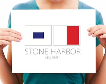 Stone Harbor - New Jersey - Nautical Flag Art Print