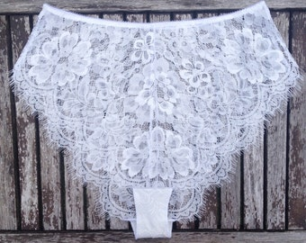 French Knickers | Sheer Panties | Lace French Knickers | Honeymoon Lingerie || 'EVA' By Thrill Factory