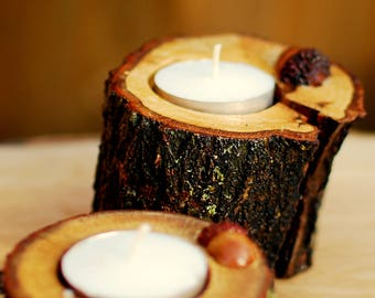 Rustic oak branch candle holder