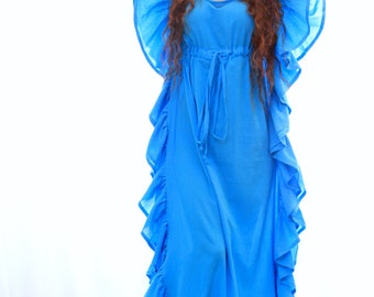 Maxi Kaftan with Ruffles - Turquoise Caftan Dress - Beach Cover Up in Cotton Gauze - 20 Colors
