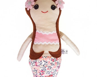 Handmade mermaid rag doll pink florals, mermaid rag doll, mermaid cloth doll, mermaid doll, handmade mermiad doll, heirloom doll, mermaid