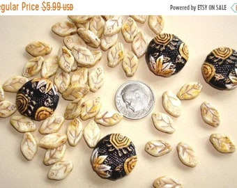 ON SALE 4 Embossed Ceramic PORCELAIN Beads & 50 Czech Glass Leaf Beads