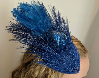 Bright Blue Sparkly Fascinator Hat with Bird and Feathers -- Free Shipping