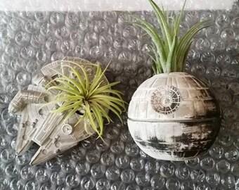 Death Star inspired planter gift set, air plant holder, desk planter, Millennium Falcon, Star Wars geekery, nerdy gift