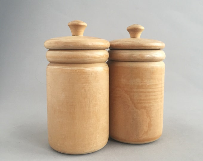 Turned wood lidded jars x 2