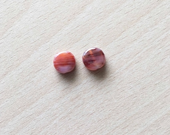"hand made glass bead shape ""lozenge"" color: Burnt orange"