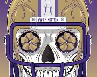 Washington Football Sugar Skull 11x14 Print