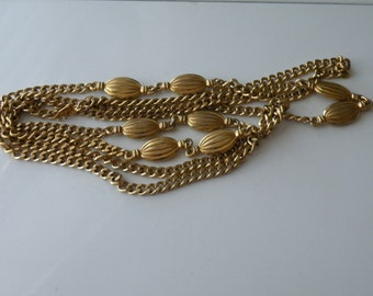 Monet gold plated long chain necklace. 54""