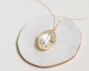 Crystal Diamond Layering Necklace - Simple Crystal Layering Necklace - Gold Layering Necklace - Small Delicate Gold Layering Necklace