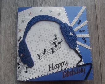 "Card ""happy birthday"" music headphones"