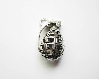 4 Large Grenade Pendants in Silver Tone - C1615