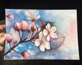 Original Painting Cherry Blossoms Watercolor Painting 7x10, Spring Flowers, Pink Flowers, Floral Art, Cherry Blossom Art