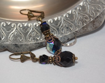 Black glass earrings - Drop dangle - Romantic vintage style - Czech glass earrings - Victorian steampunk - Gift for her - Birthday gift