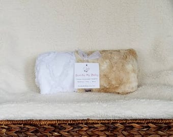 Neutal Baby Minky Blanket White and Tan Faux Furs with a Lattice Fabric Backing Boy and Girl Bedding